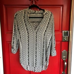NWOT Charlotte Russe Black White Design Blouse